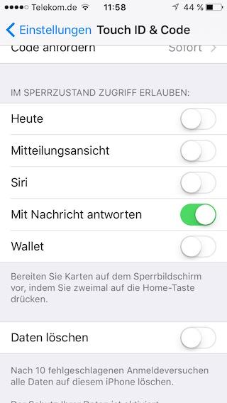 Sicherheitseinstellungen Sperrbildschirm Siri